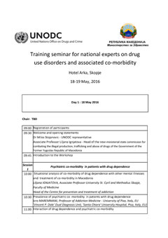 Training seminar for national experts on drug use disorders and associated co-morbidity